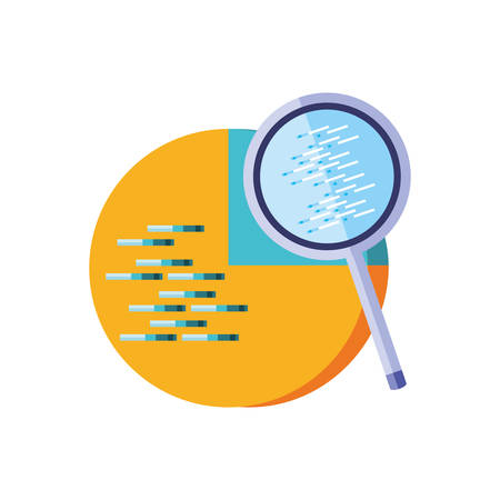 statistical graphics circular with search magnifying glass vector illustration design  イラスト・ベクター素材