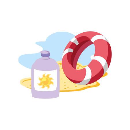 Botella de bloqueador solar en la playa con flotador, diseño de ilustraciones vectoriales Ilustración de vector