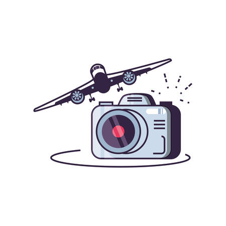 airplane flying with camera photographic vector illustration design