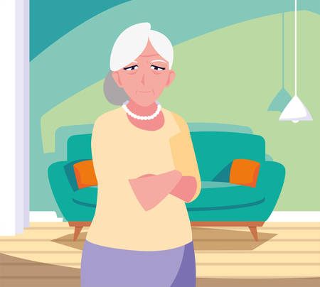 happy grandparents day - grandmothers standing in the living room home vector illustration