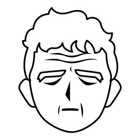 Grandfather head cartoon design, Old person grandparents man avatar senior and adult theme Vector illustration