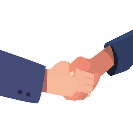 handshake business cartoon flat design vector illustration