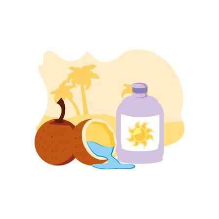solar blocker bottle in the beach with coconut fruit vector illustration design