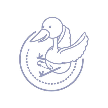 cute stork animal with diaper isolated icon vector illustration design Ilustração