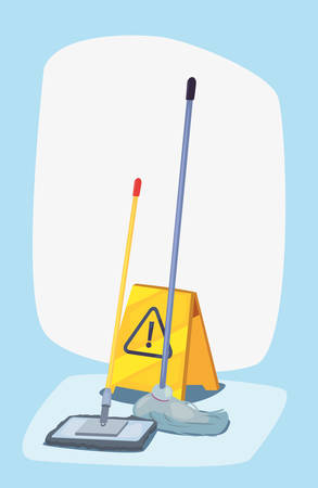 mop and warning board cleaning products and supplies vector illustration