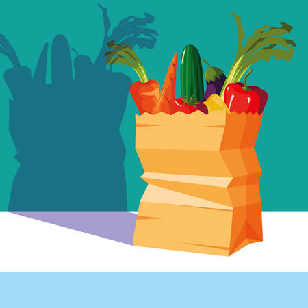 bag paper with set vegetables fresh vector illustration design 向量圖像
