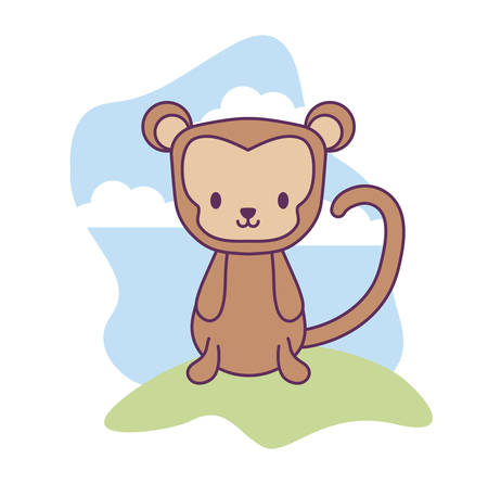 cute monkey animal in landscape natural isolated icon vector illustration design