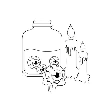 silhouette of jar with eyes scary with icons of halloween vector illustration design