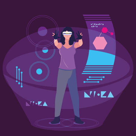 Woman and device design, Augmented reality virtual technology device and modern theme Vector illustration