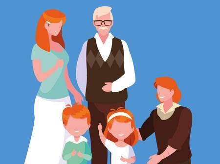 cute family members avatar character vector illustration design