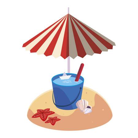 summer sand beach with umbrella and water bucket vector illustration design Illustration