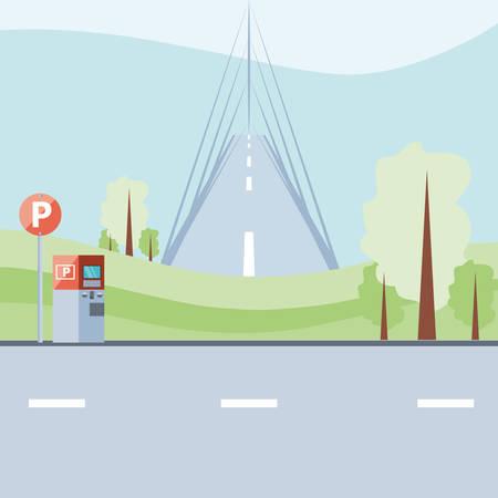 parking zone with ticket machine scene vector illustration design