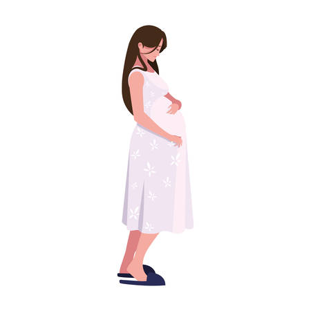 pregnant woman touching her belly - pregnancy and maternity vector illustration