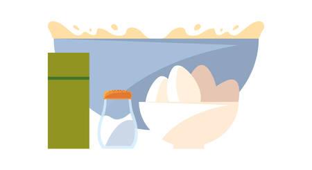 bowl eggs salt preparation cooking vector illustration Ilustração