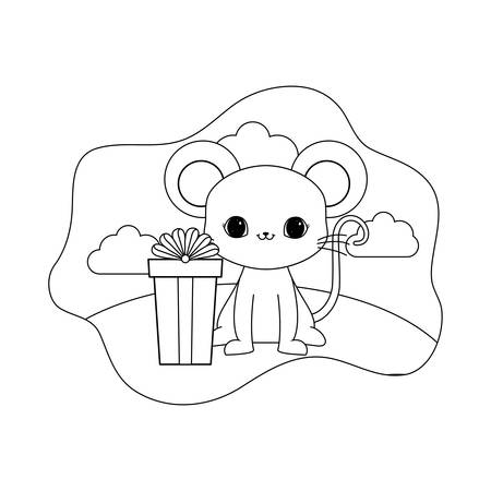 cute mouse animal with gift box vector illustration design
