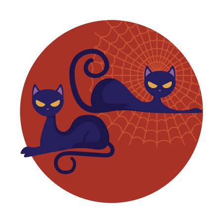 cat feline animal of halloween vector illustration