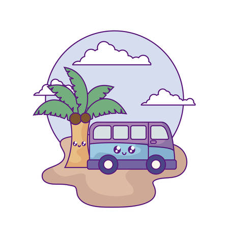 van vehicle with palm tropical kawaii in the beach vector illustration design