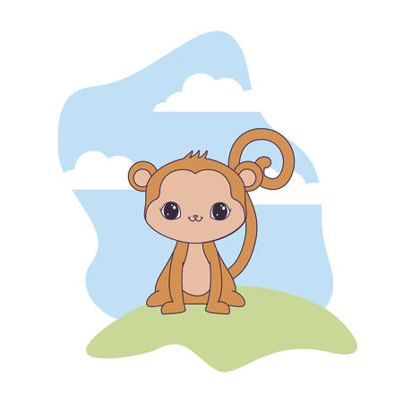 cute monkey animal in landscape natural vector illustration design