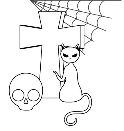 cat feline halloween with cross and skull vector illustration Çizim