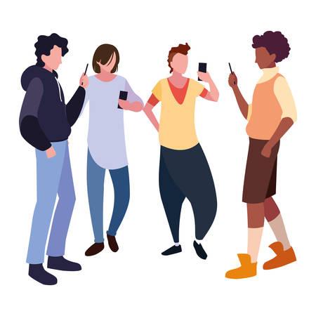 Grupo de hombres que usan la ilustración de vector de redes sociales de teléfonos inteligentes