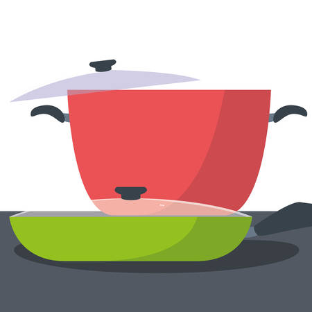 pot and saute pan preparation cooking vector illustration