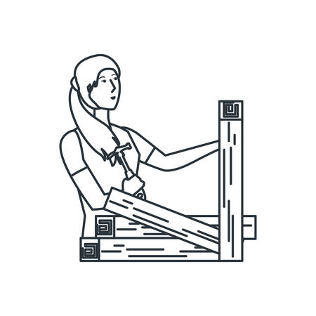 worker carpenter woman with wooden vector illustration design Standard-Bild - 137033220