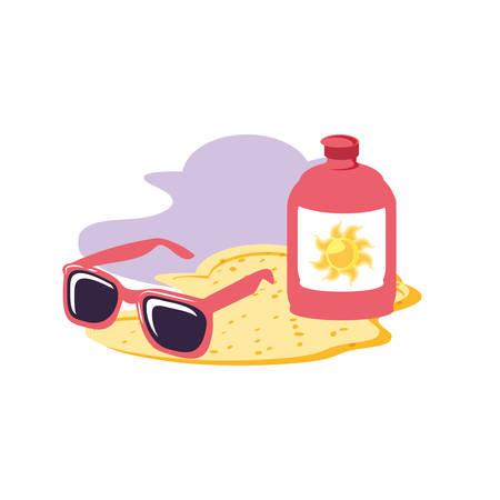 Sonnencreme-Flasche am Strand mit Sonnenbrillen-Vektor-Illustration-Design