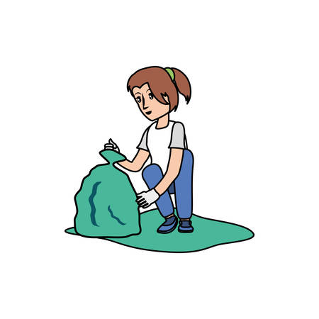 Avatar woman with trash bag design, Garbage recycle ecology eco save and environment theme Vector illustration