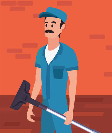 worker cleaning man vacuum machine on brick wall background vector illustration Ilustração