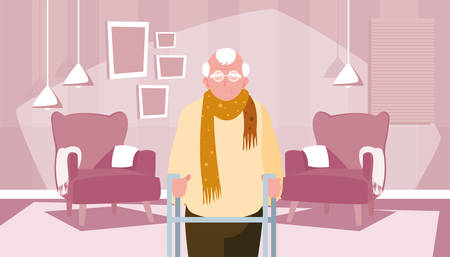 happy grandparents day - grandfather character in the living room with chairs vector illustration