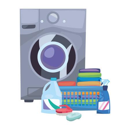 Lavadora botellas de lavandería cepillo cesta productos de limpieza de jabón ilustración vectorial Ilustración de vector