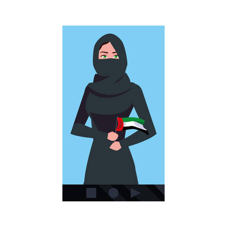united arab emirates national day - arab woman flag smartphone vector illustration