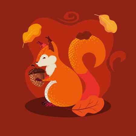 hello autumn poster with chipmunk and nut vector illustration design Ilustración de vector