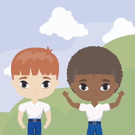 cute little student kids in landscape scene vector illustration design Ilustração