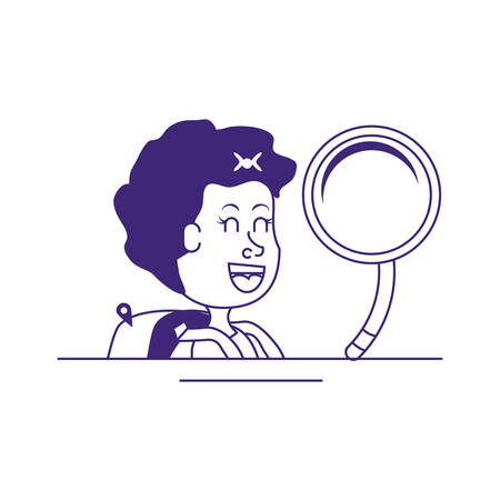 cute little student girl with magnifying glass vector illustration design
