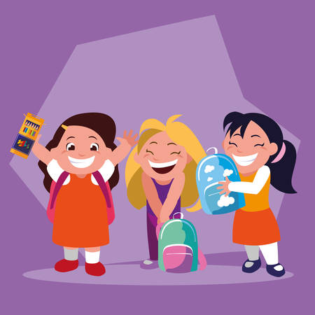 student girls with school supplies , back to school vector illustration design