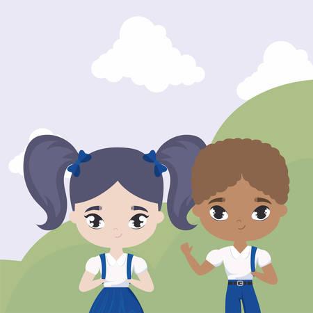 cute little students in landscape scene vector illustration design