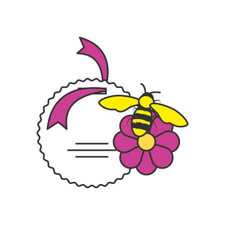 tag commercial with bee and flower nature vector illustration design