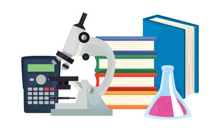 books microscope calculator chemistry flask back to school vector illustration Ilustração