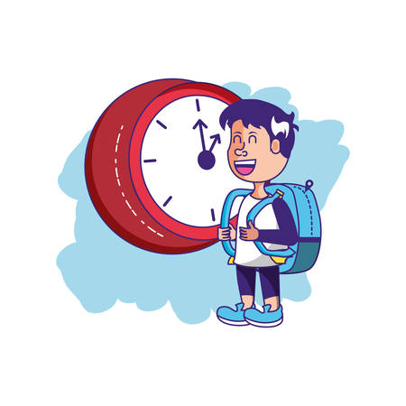 cute little student boy with bag school and clock vector illustration design