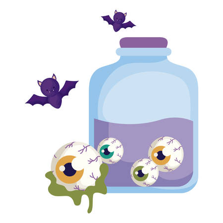 jar with eyes scary with icons of halloween vector illustration design