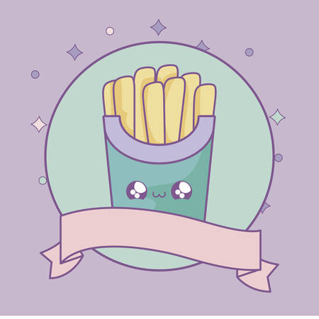 fresh french fries with ribbon decoration kawaii style vector illustration design