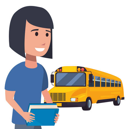 girl with book and bus back to school flat design vector illustration