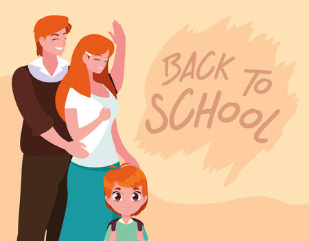 cute little student boy with parents in poster back to school vector illustration design