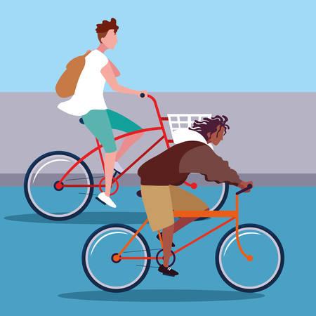 młodzi mężczyźni jeżdżący na rowerze avatar postaci wektor ilustracja projekt