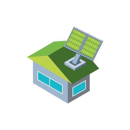 house building with solar panel on white background vector illustration design Illustration