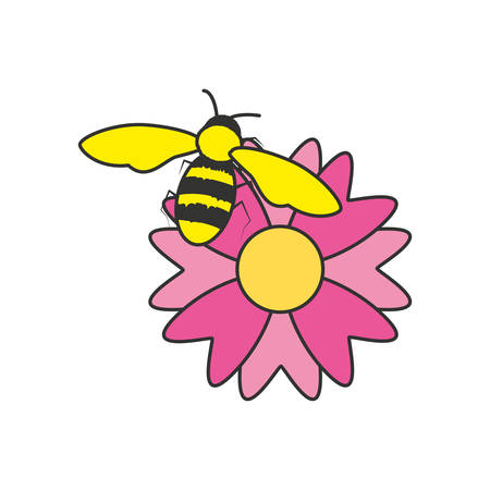 bee insect with flower nature vector illustration design