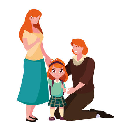parents with school girl student vector illustration Stock Vector - 137092749
