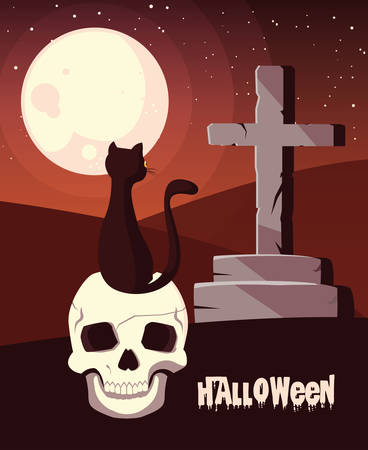 poster of halloween with cat in skull vector illustration design