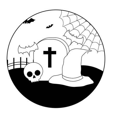 scene of graveyard tombstone with icons halloween vector illustration design Stock Illustratie